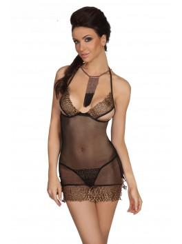 grossiste beauty night Nuisette noire transparente poitrine partiellement ouverte
