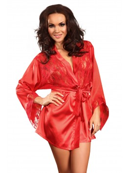 grossiste lingerie sexy Peignoir rouge satin et dentelle