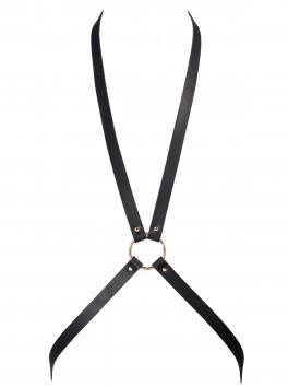 grossiste bijoux indiscrets Harnais croisé noir en cuir BDSM soft