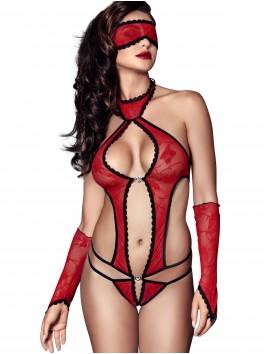 grossiste lingerie sexy Body sexy rouge ajouré avec masque et mitaines