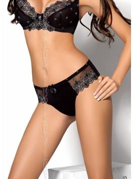grossiste lingerie Axami String sexy noir avec dentelle motifs argentés