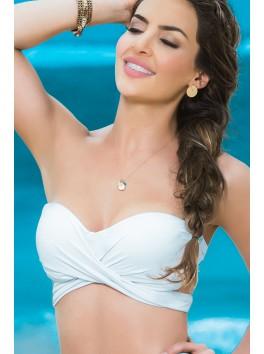 Grossiste maillot de bain Haut de bikini multi-positions blanc top maillot de bain bandeau coques