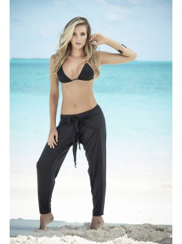 Grossiste Mapalé Bikini top triangle noir et pantalon ample drapé ceinture cravate