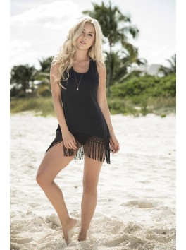 Grossiste Robe de plage noire opaque finition franges