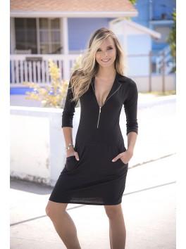 grossiste pret a porter Robe courte sexy noire zip manches longues et poches