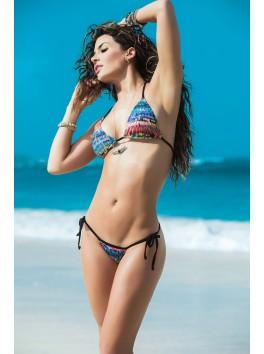 grossiste maillot de bain Bikini string et top triangle sexy bleu avec motifs