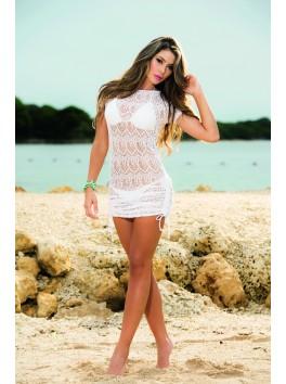 vente en gros Robe de plage brodée blanche avec fronçage sur le bas