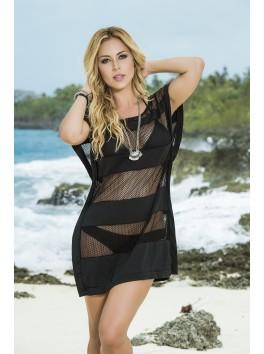 Fournisseur pret à porter Robe de plage noire resille tissu