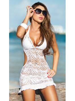 vente en gros Robe de plage brodée blanche échancrée dos nu