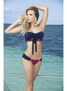 Vente en gros Bikini noir top ou bandeau bleu avec tanga