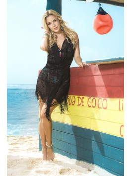boutique grossiste Robe de plage noire réversible et franges