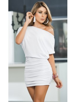 Grossiste mode Robe cocktail blanche large col et bas plissée