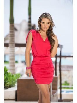 Fournisseur vetement femme Robe cocktail rose corail épaules cintrées