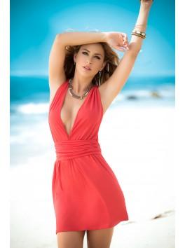 vente en gros Robe cocktail rouge corail décolletée dos croisé