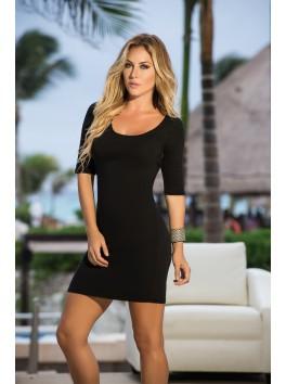 grossiste vetement femme Robe clubwear noire moulante dos ouvert