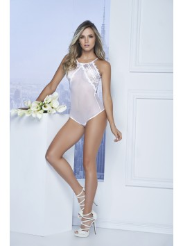 Grossiste lingerie Mapalé Body dentelle blanche avec dos ouvert