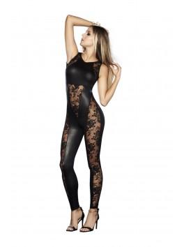 grossiste pret à porter Combinaison sans manches noire style cuir avec dentelle et dos nu