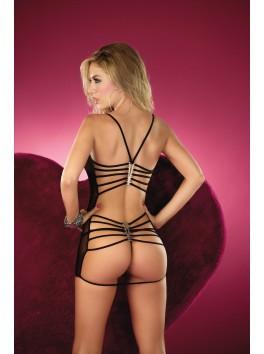 grossiste nuisette Mapalé Nuisette sexy noire transparente dos nu avec ornements