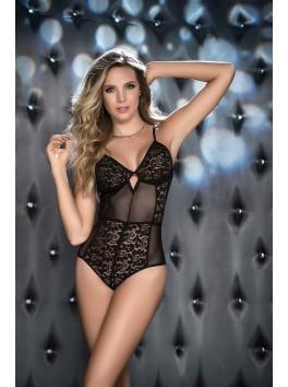 Grossiste lingerie sexy Body noir dentelle et fine resille réglable à l'entre-jambes