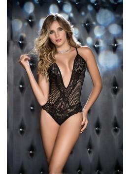 grossiste lingerie sexy Body noir large résille et dentelle profond décolleté