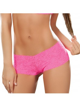 Fournisseur lingerie dropshipping Shorty sexy dentelle rose