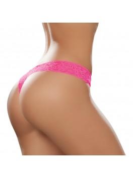 Fournisseur lingerie en ligne String sexy dentelle rose en V