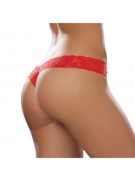 Fournisseur lingerie String sexy dentelle rouge en V