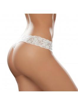 Grossiste Mapalé lingerie String sexy dentelle blanc en V