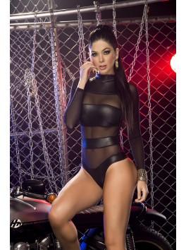 Grossiste lingerie sexy Body noir sexy à bandes façon wetlook
