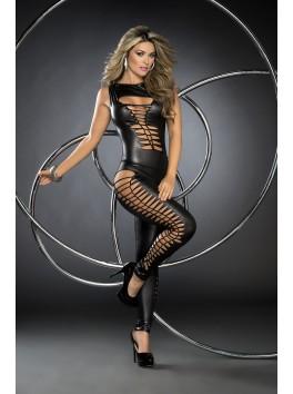 Grossiste mode Combinaison noire sexy libertine ajourée