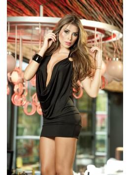 vente en gros Robe courte noire libertine col drapé dos nu