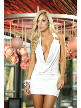 grossiste vetement Robe courte blanche libertine col drapé dos nu