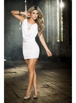 Fournisseur vetement Robe courte clubwear blanche brillante décolleté drapé et dos dentelle