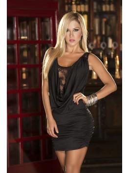 Fournisseur pret à porter Robe courte clubwear noire brillante décolleté drapé et dos dentelle