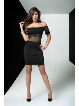 Grossiste pret à porter Robe de soirée noire épaules dénudées transparence et dentelle