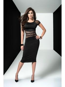 fournisseur pret à porter Robe de soirée noire mi-longue transparence sur la taille