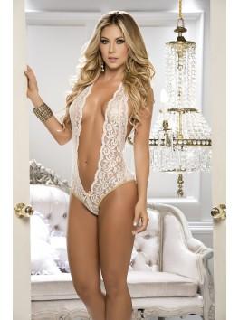Fournisseur lingerie dropshipping Body beige ivoire dentelle très décolleté et dos nu
