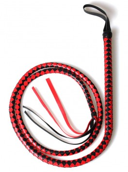Fouet rouge et noir de 2 mètre en cuir synthetique