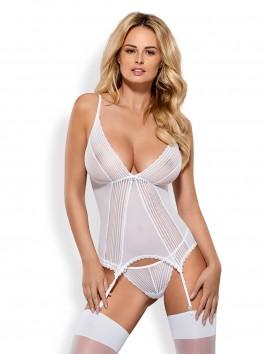 Grossiste Obsessive Sensita Guêpière blanche sexy avec dos nu, décolleté et bijoux, string inclus