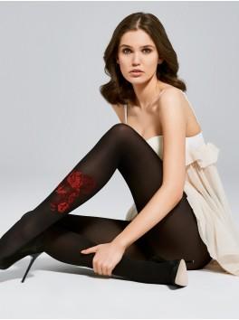 Fournisseur Fiore Collant fantaisie noir opaque avec rose rouge 40 deniers