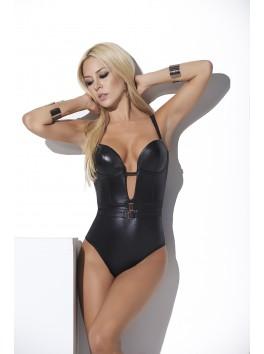 Body Mapalé noir effet cuir avec décolleté bustier plongeant