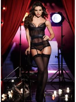 Fournisseur MApalé Body noir sexy transparent avec jarretelles et effet soutien-gorge