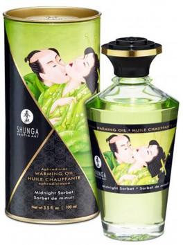 Grossiste Shunga Huile de massage chauffante comestible bio thé vert exotique pour zones erogènes