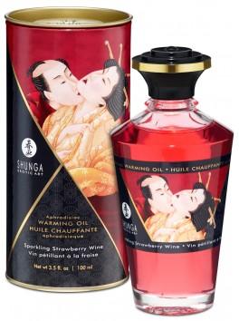 Grossiste Shunga Huile de massage chauffante comestible aphrodisiaque vin pétillant fraise pour zones erogènes