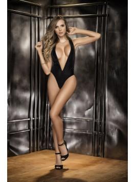 Grossiste Mapalé Body noir sexy avant velours arrière fine maille décolleté profond en V