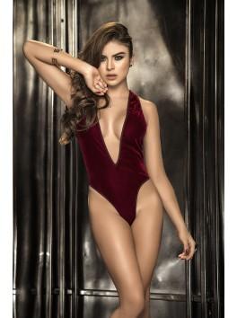 Fournisseur Mapalé Body bordeaux sexy avant velours arrière fine maille décolleté profond en V