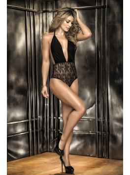 Grossiste lingerie Body string noir haut velours décolleté et bas dentelle fine