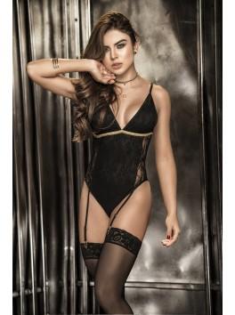 Grossiste lingerie Body string dentelle noire décolleté avec jarretelles et laçage doré