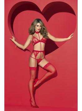 Grossiste lingerie Body rouge sexy effet ensemble avec porte-jarretelles