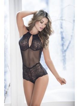 Grossiste lingerie sexy Body noir dentelle et maille avec dos nu